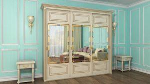 Шкаф купе с фрезеровкой и зеркальным панно Черемхово