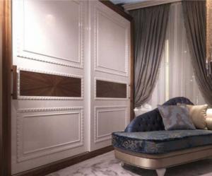 Шкаф купе с эмитацией филенки и фигурной накладкой, ламинация, шпон, эмаль Черемхово