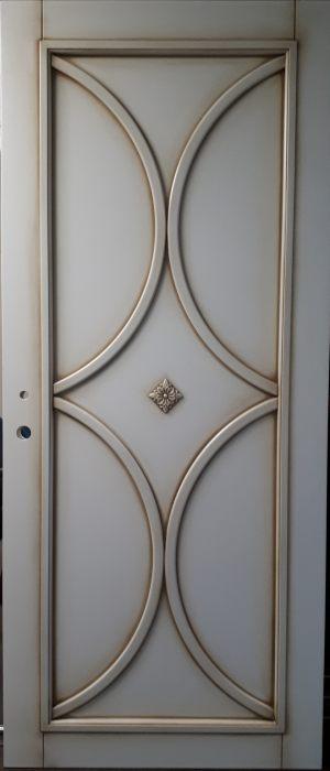 Межкомнатная дверь в профиле массив (эмаль с патиной) Черемхово