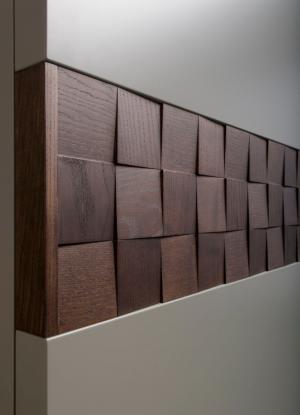 Вставка в двери с накладными квадратами шпон Черемхово